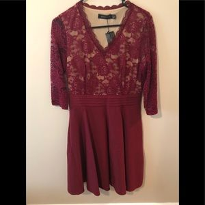 Homeyee Lace Flare Party Dress